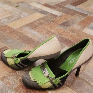 Dior 36 1/2 green/black/white kilti heels